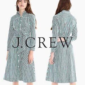 j crew tie waist striped shirtdress Sz 6